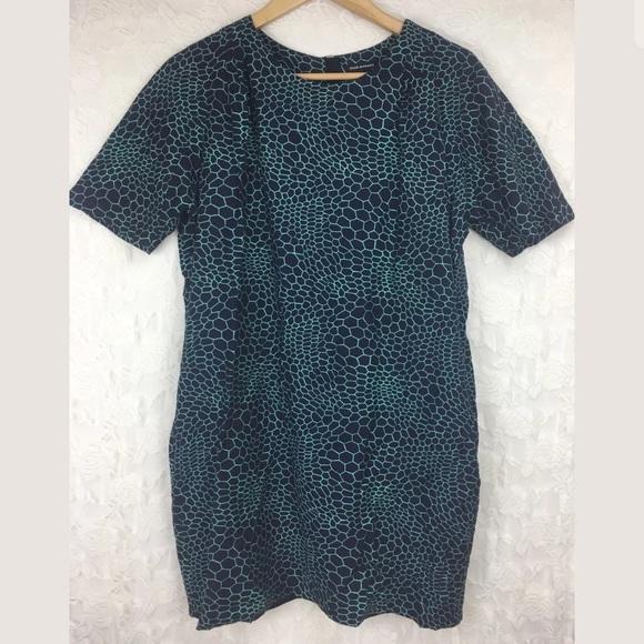 Club Monaco Honeycomb Blue green Shift Dress